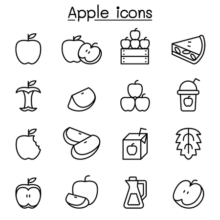 Apple icon set in thin line style