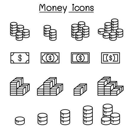 Money, Earning, Income, Benefit, Profit & Coins icon set in thin line style