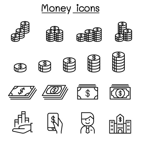 Money, Currency, Cash, Coins & Bank notes icon set in thin line style Çizim