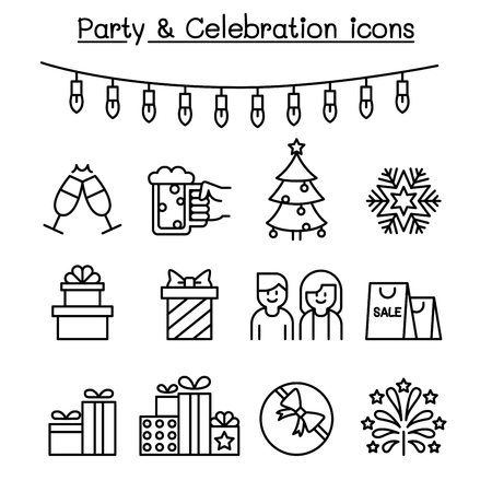 Party & Celebration icon set in thin line style