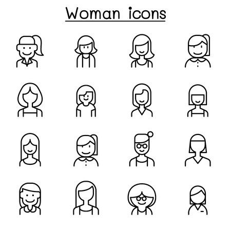 Woman, Girl, lady, female, Mom icon set in thin line style