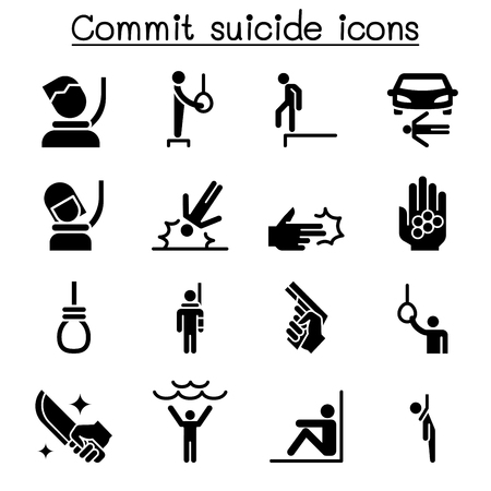 Commit suicide icon set