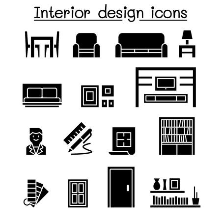 Jeu d'icônes de décoration d'intérieur et de meubles Vecteurs