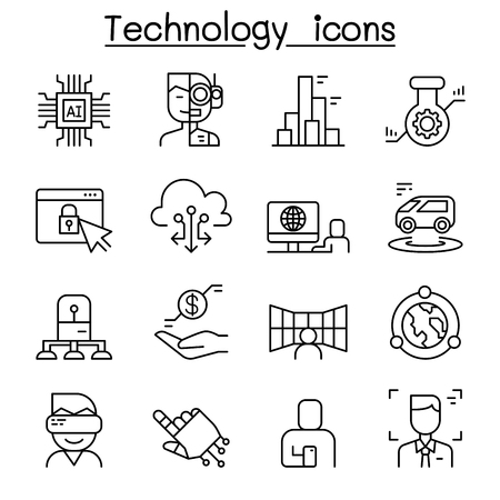 Innovation, Future technology icon set in thin line style