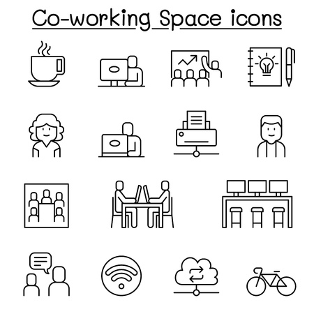Co working space icon set in thin line style