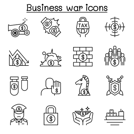 Business war, Trade war, currency war, tariff, economic sanction icon set in thin line style