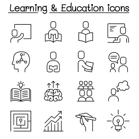 Education & Learning icon set in thin line stlye Archivio Fotografico - 125061981