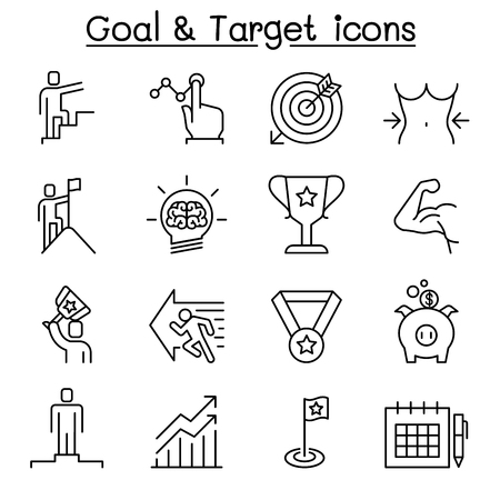 Goal, Target, Self improvement, aim, and purpose icon set in thin line style Vetores