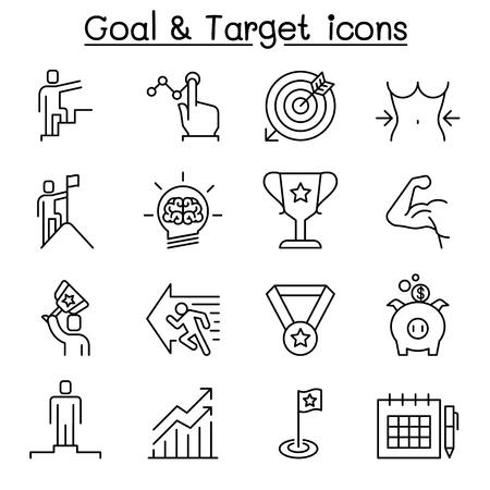 Objectif, cible, amélioration personnelle, objectif et objectif défini dans un style de ligne mince Vecteurs