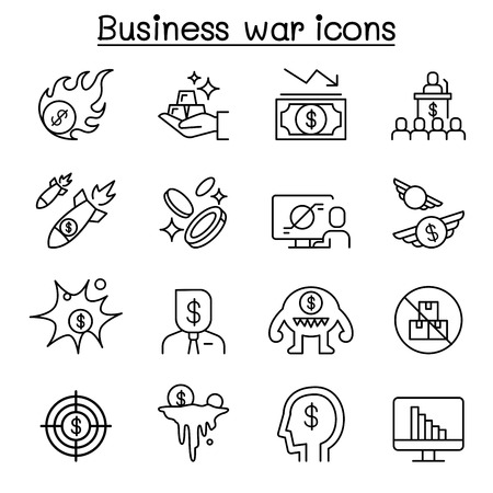 Business war, Business sanction, trade war, import tax icon set in thin line style