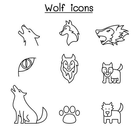 L'icona del lupo ha messo nella progettazione grafica dell'illustrazione di vettore di stile di linea sottile Vettoriali