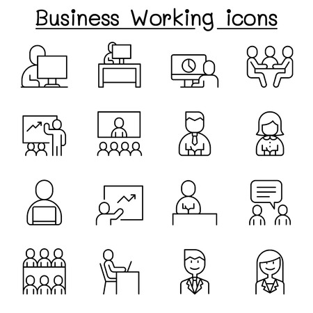 Business working icon set in thin line style Illustration