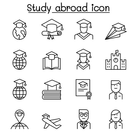 Study abroad icon set in thin line style Illustration