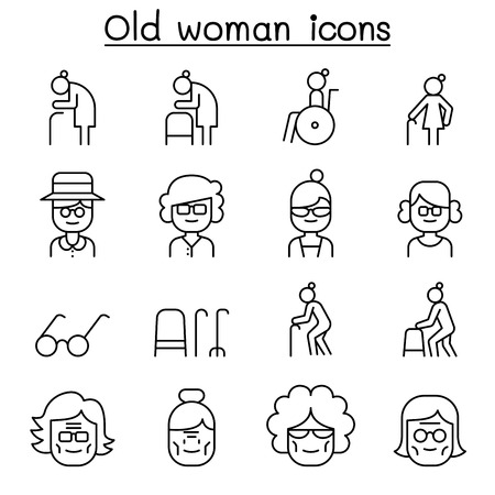 Grandmother, Grandma, old woman icon set in thin line style