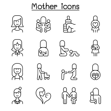 Mother & mom icon set in thin line style