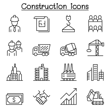 Construction industrial icon set in thin line style Illustration