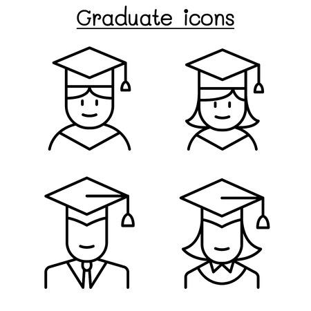 Graduate icon set in thin line style Illustration