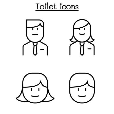 Aseo de oficina, baño, símbolo de baño en estilo de línea fina