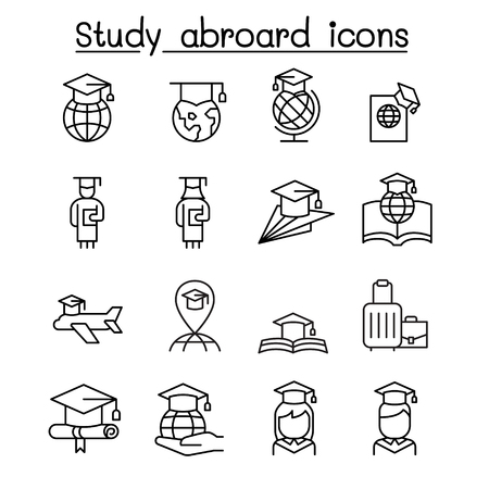 Estudiar en el extranjero y el icono de graduación en estilo de línea fina