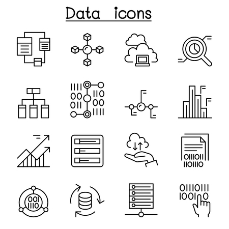 Data, database, graph, chart, diagram icon set in thin line style