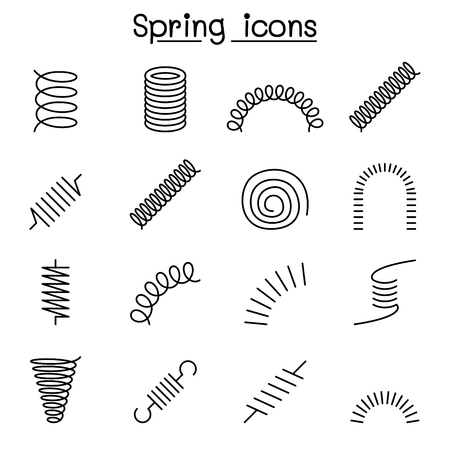 Spring, coil and absorber icon set in thin line style Векторная Иллюстрация