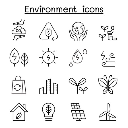 Environment & Ecology icon set in thin line style