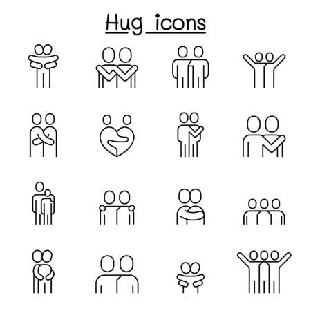 Amant, câlin, amitié, icône de relation définie dans un style de ligne mince