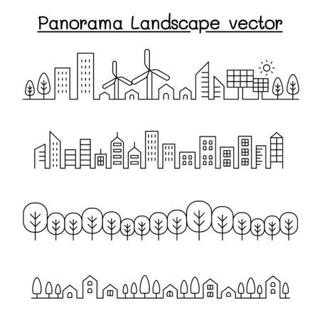 Thin line style city panorama. urban landscape vector illustration graphic design Vettoriali