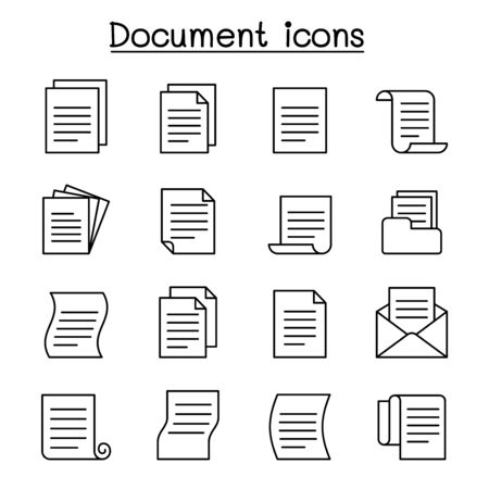 Document & File icon set in thin line style