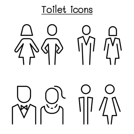 Toilet, restroom, bathroom symbol set in modern style