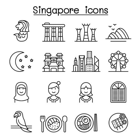 Singapore icon set in thin line style