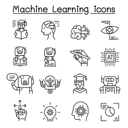Machine learning icon set in thin line style Illusztráció