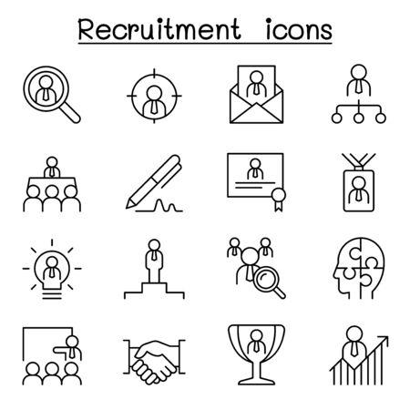 Rekrutierungs-, Karriere- und Jobsymbol im dünnen Linienstil Vektorgrafik
