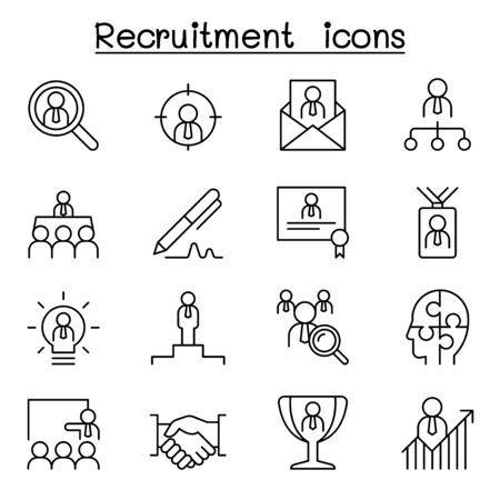 Recruitment, career & job icon set in thin line style