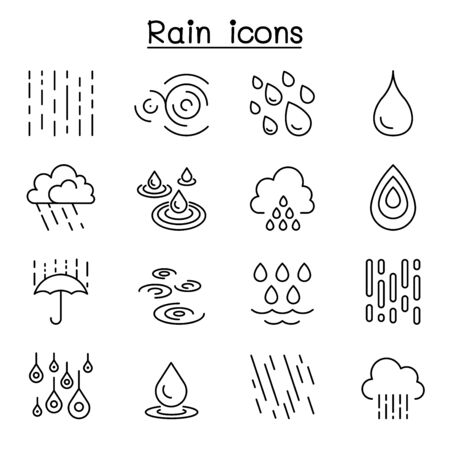 Rain icon set in thin line style