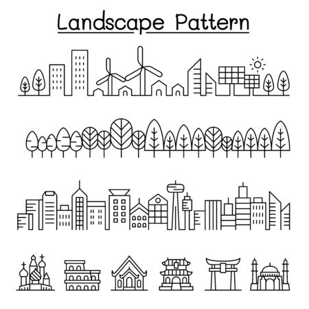 Urban landscape, forest, Smart city, Landmark vector graphic design Иллюстрация