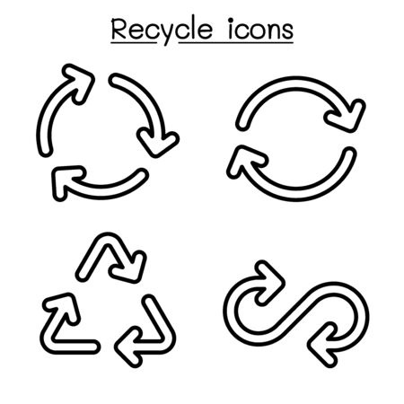 Recycle icon set in outline style Ilustração