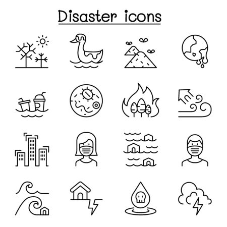 Disaster, pollution icon set in thin line style Иллюстрация