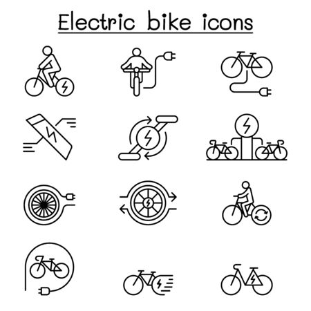 Electric bike icon set in thin line style Ilustracja