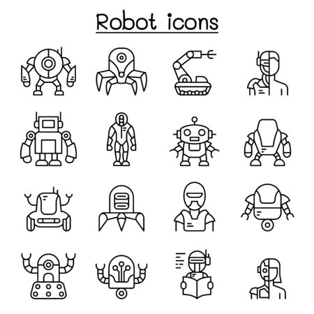 Robot, AI icon set in thin line style