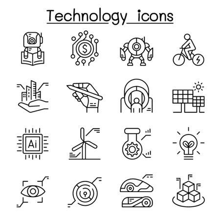 Technology icon set in thin line style Zdjęcie Seryjne - 129273845