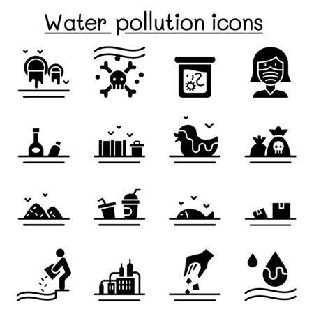 Water pollution icon set flat style Ilustração