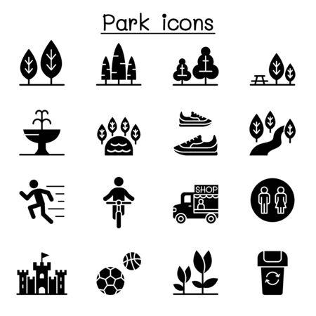 Jeu d'icônes de parc illustration vectorielle