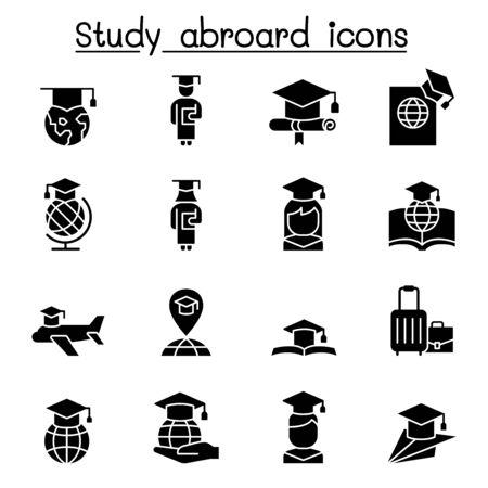 Study abroad & Graduation icon set