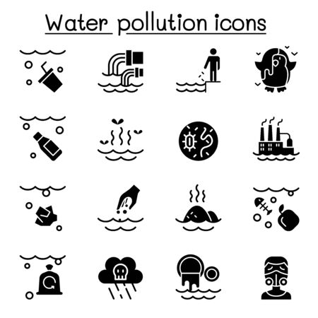 Water pollution icon set