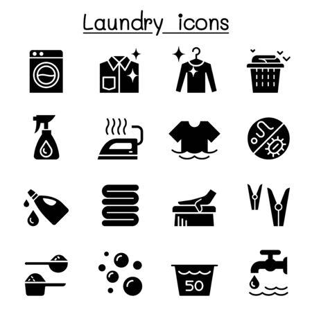 Laundry icon set vector illustration graphic design Standard-Bild - 130050067