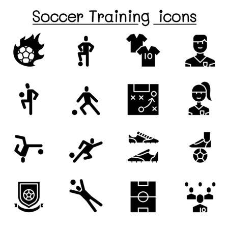 Soccer training, football club icon set 일러스트