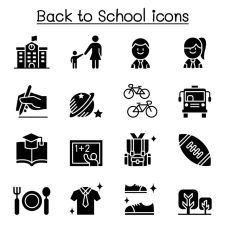 School, education, learning, back to school icon set