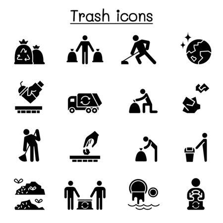 Trash, garbage, rubbish, dump, refuse icon set Ilustrace