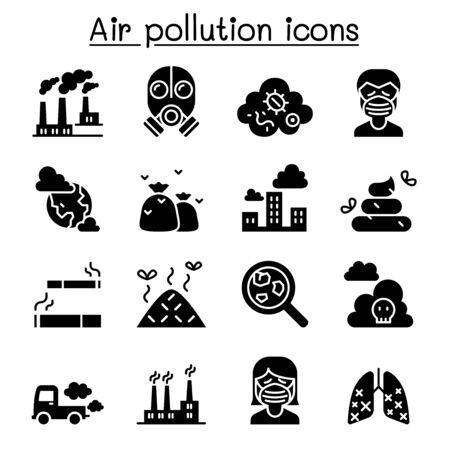 Luftverschmutzungssymbol im dünnen Linienstil